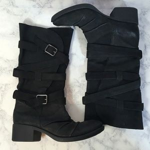Gianni Bini Out-Done Buckle Strap Tall Moto Boots